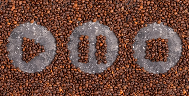 Play, pause and stop icons made from coffee beans
