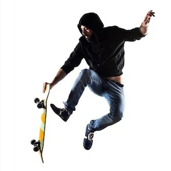 Play portrait skateboard handsome beard