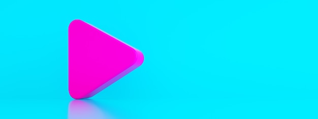 Play symbol over blue background, music and video logo element, 3d render, panoramic image