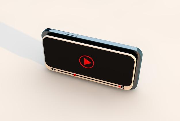 비디오 온라인 모의 및 최신 스마트 폰을 재생하십시오. 멀티미디어 비디오 개념, 3d 렌더링