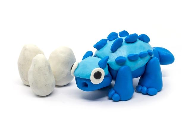Playdough ankylosaurus and eggs