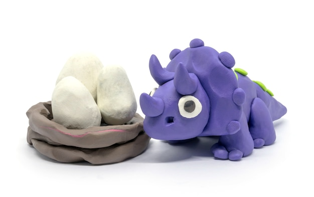 Playdough triceratops and eggs