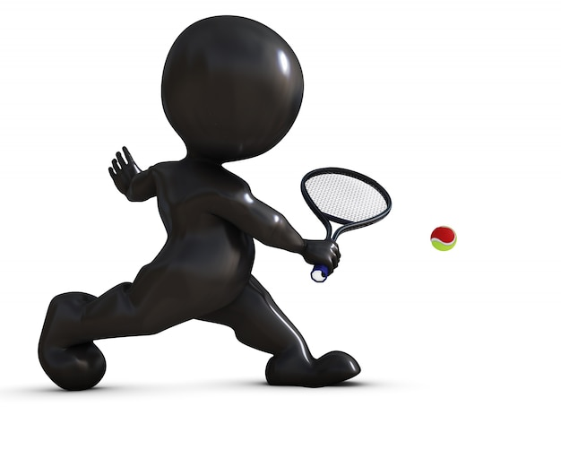 Player tennis returning a ball