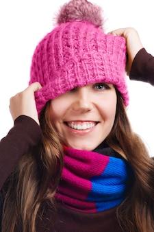 Playful winter woman