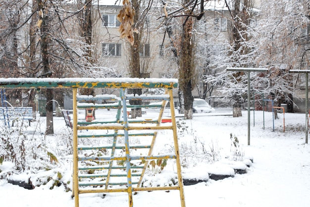 The playground is covered with snow