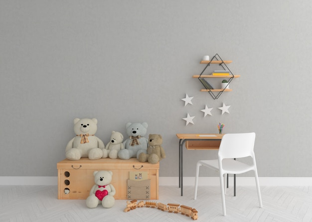 Playground in scandinavian nursery room