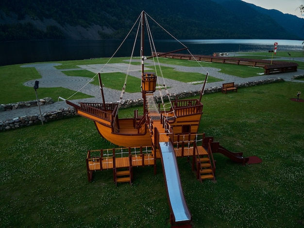 Playground without children with pirate ship view from above.