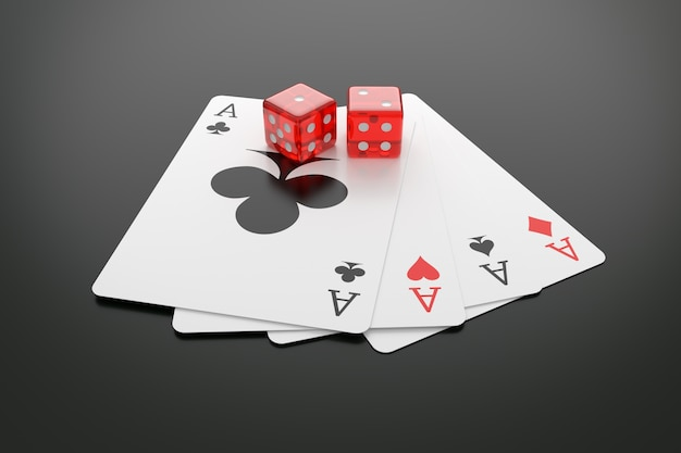 Playing cards and casino dice on table.