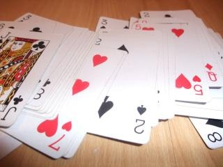 Playing cards, floor