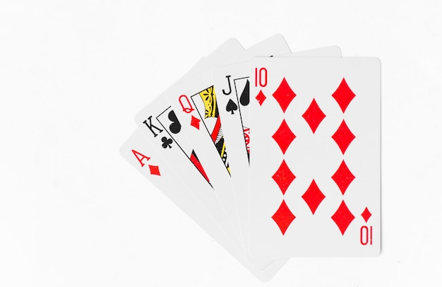 Playing cards full deck white background mockup