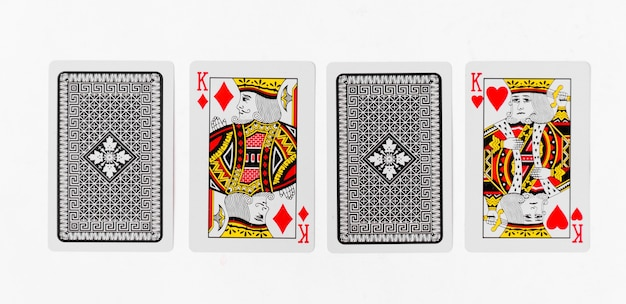 Playing cards king card suite and back white background mockup