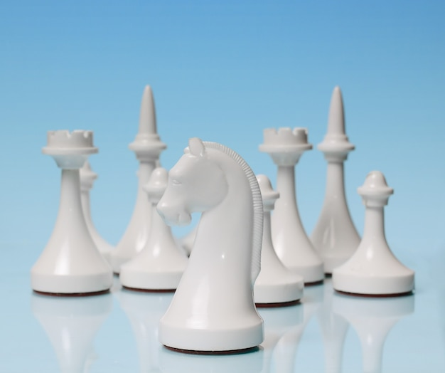 Playing chess. white knight against the rest of the figures
