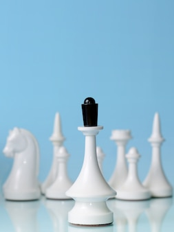 Playing chess. white queen against the rest of the figures