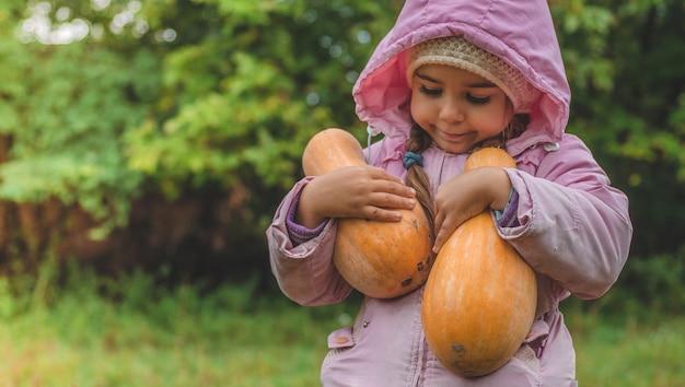 カボチャを保持しているかわいい女の子を屋外で遊ぶ。カボチャの収穫、庭の秋、素敵な女の子と大きなカボチャ。