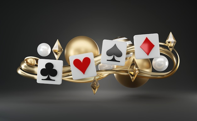 Playing poker card game symbol, floating abstract theme objects