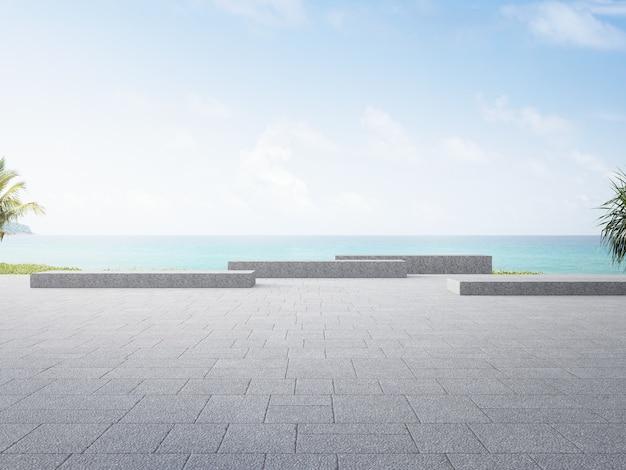 ビーチと海の景色を望むプラザ3dレンダリング