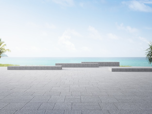 Plaza 3d rendering with beach and sea view