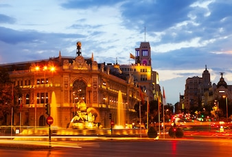 Plaza de Cibeles in summer dusk. Madrid