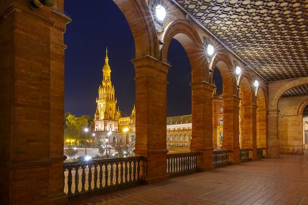 Plaza de espana at night in seville, spain