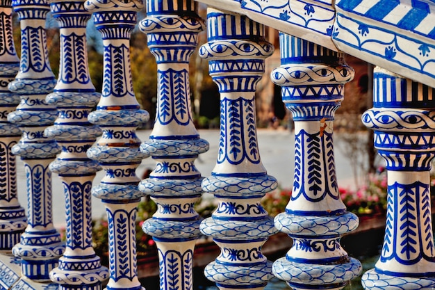 Plaza de espana of sevilla: beautiful railing painted in blue and white