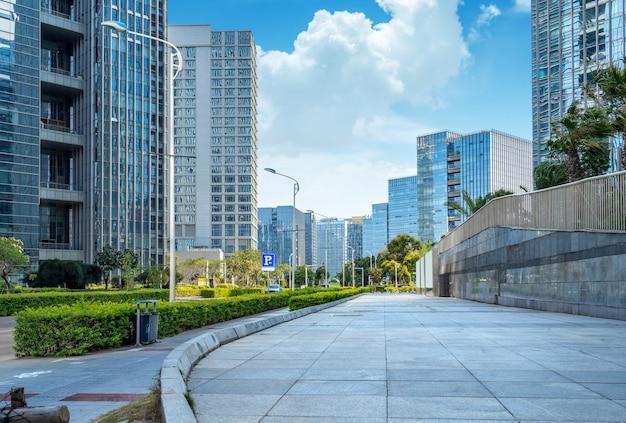 Plaza and modern skyscrapers, xiamen cbd, fujian, china.
