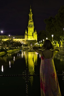 Plaza spain of seville at night.