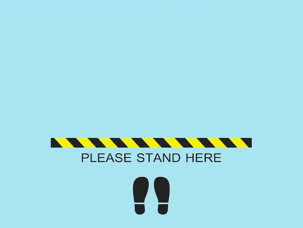 Пожалуйста, встаньте здесь. концепция социальной защиты от вирусов