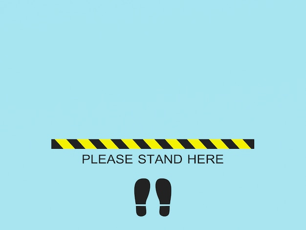 Please stand here.social distancing concept for preventing virus
