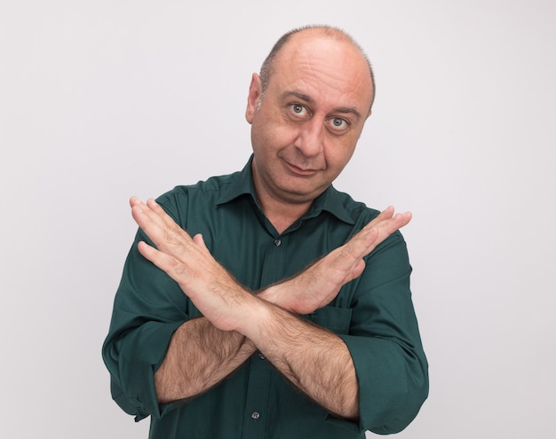 Pleased middle-aged man wearing green t-shirt showing gesture of no isolated on white wall