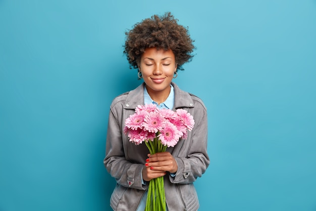 Pleased woman with curly hair keeps eyes closed holds beautiful pink gerbera flowers enjoys festive day dressed in grey jacket isolated over blue wall