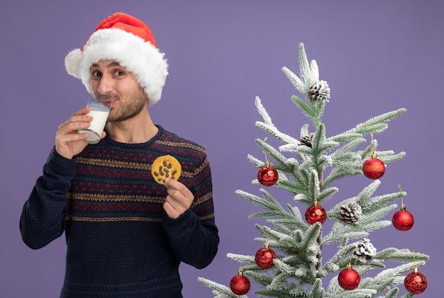 Felice giovane uomo caucasico che indossa il cappello di natale in piedi vicino all'albero di natale decorato con in mano un bicchiere di latte e un biscotto cercando latte da bere isolato su parete viola