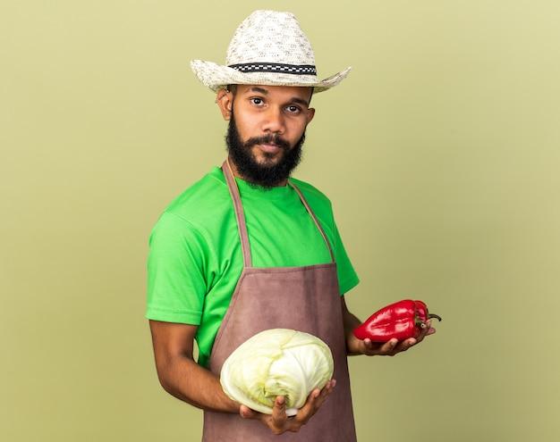 Felice giovane giardiniere afro-americano che indossa un cappello da giardinaggio che tiene cavolo con pepe isolato su parete verde oliva