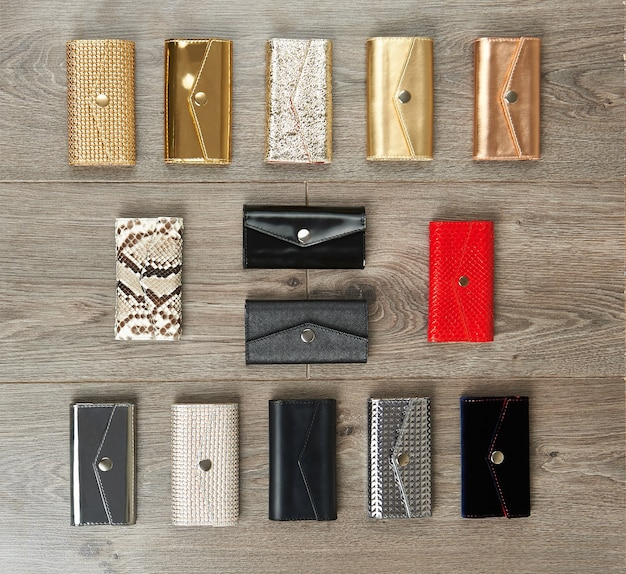 Plenty of casual female wallets made from different materials.