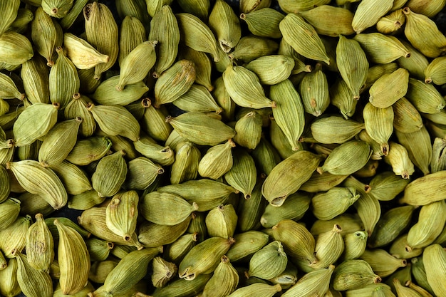 Plenty of green cardamom spice
