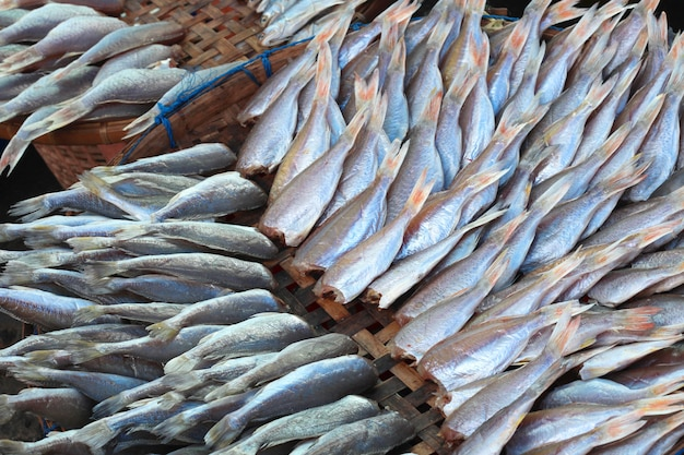 Plenty of headless fish at the market for sell
