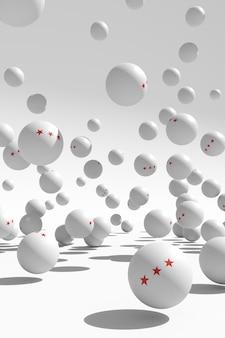 たくさんの3つの星が白いピンポン球を跳ねています。卓球ポスターデザインのアイデア。 3 dイラスト。