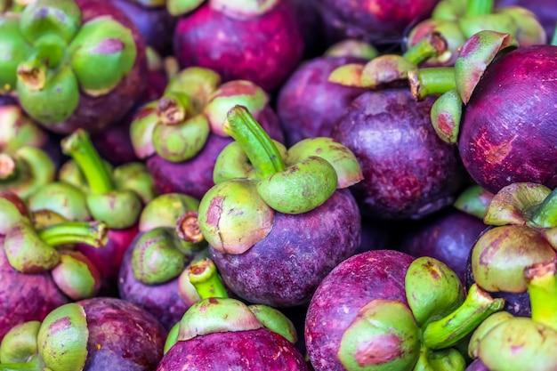 Plenty of queen of fruit, mangoteen at fruit market
