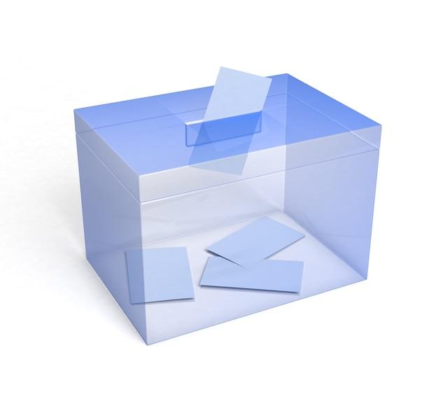 종이가 삽입된 플렉시글라스 투표함... 3d 렌더링.