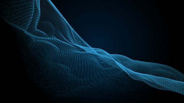 Plexus curve wave effect 3d blue background