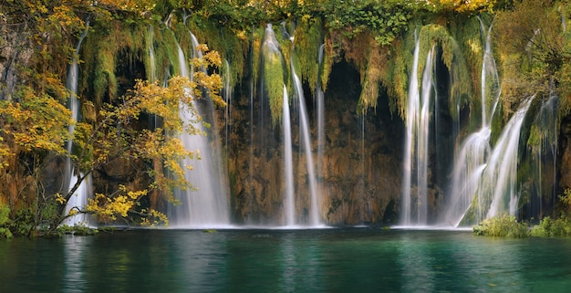 Plitvice forest lakes and waterfalls in autumn season