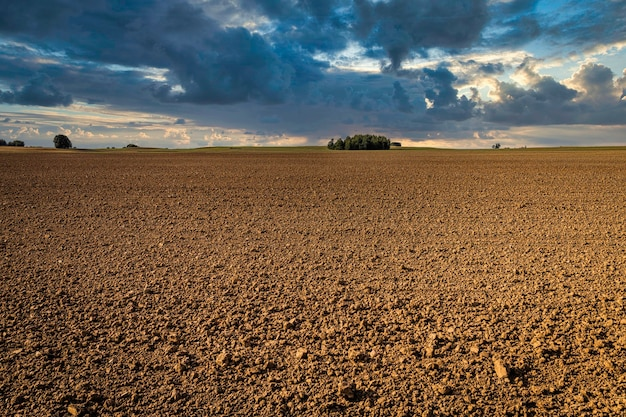 Ploughed field with dramatic sky in the background