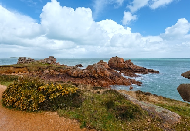 Ploumanach coast spring view   (perros-guirec, brittany, france)
