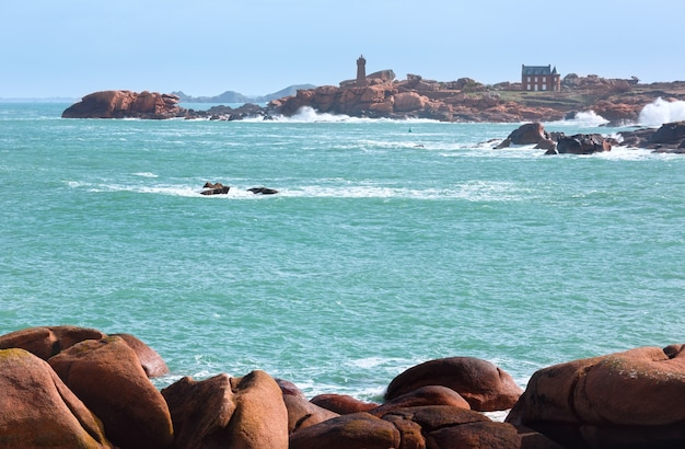 Ploumanach coast spring view  (between perros-guirec and pleumeur-bodou, brittany, france). the pink granite coast.