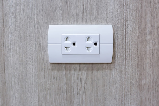 Plug into electricity socket the power outlets on the wood wall. sockets plug outlets with 220 volts (220v) ac style.