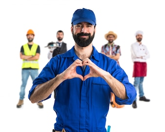 Plumber making a heart with his hands