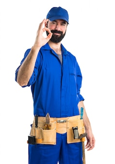 Plumber making ok sign