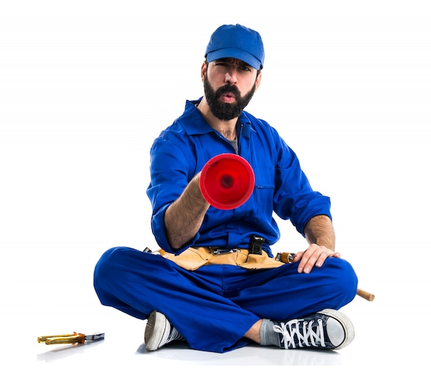 Plumber man with his plunger