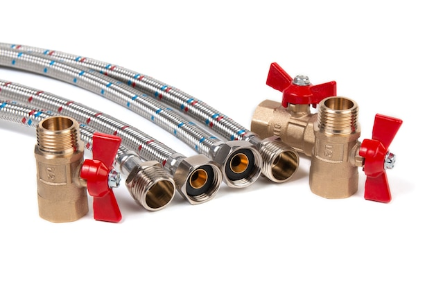 Plumbing gate ball vales, flexible water hose and fittings