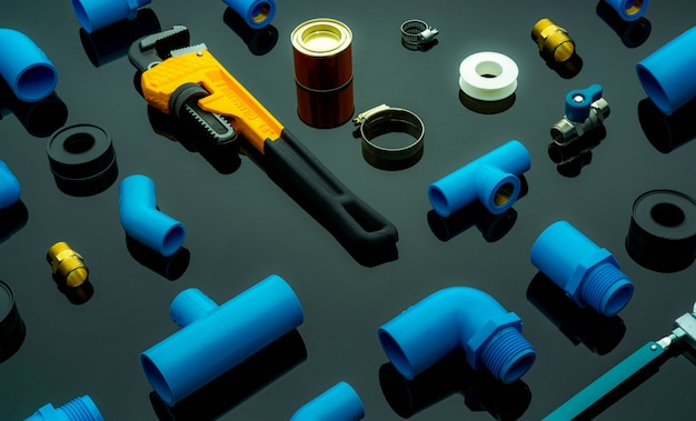 Plumbing tools. plumber equipment.