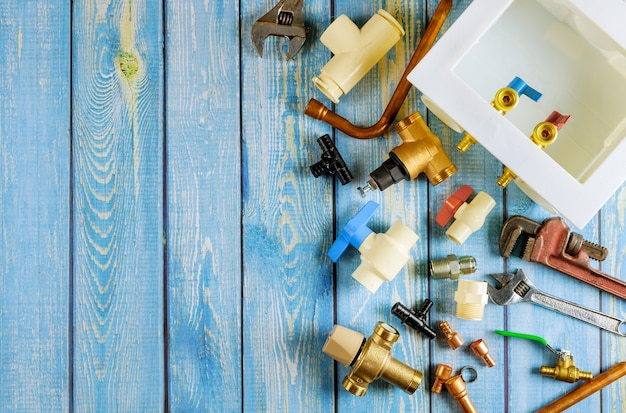 Plumbing variety tools materials of mixer tap, several brass steel in the pipe couplings, adapters, drain